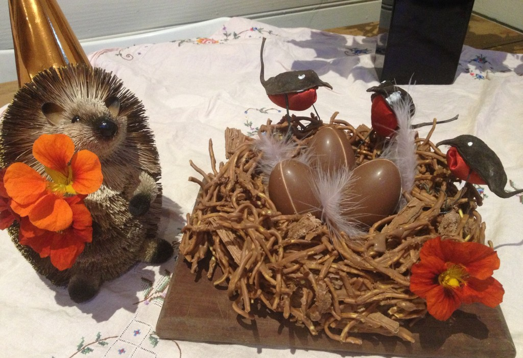 All followed by a birds nest cake complete with a gentleman hedgehog visitor.