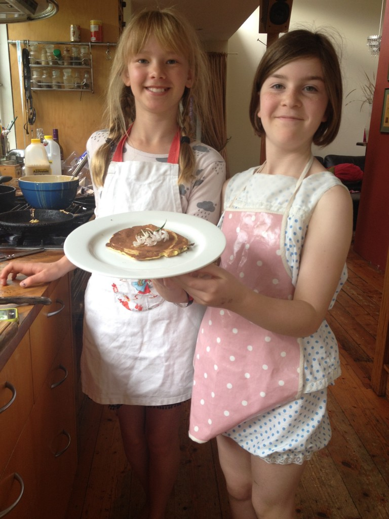 LOVE that Ivy took over the kitchen and with her sous chef Daisy, made pancakes for breakfast