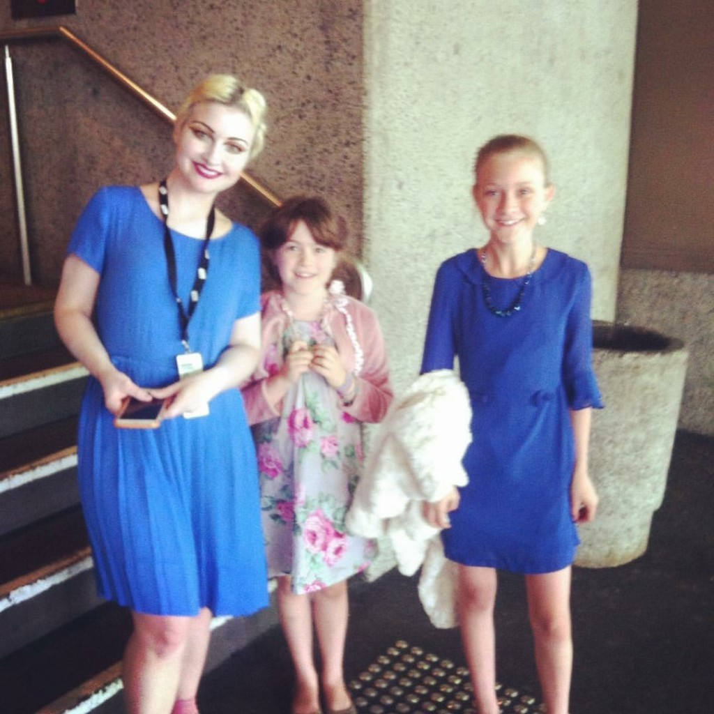 And the girls got to meet their star, Kate Miller Heidke at stage door. Nice matching outfits Lucinda + Kate.