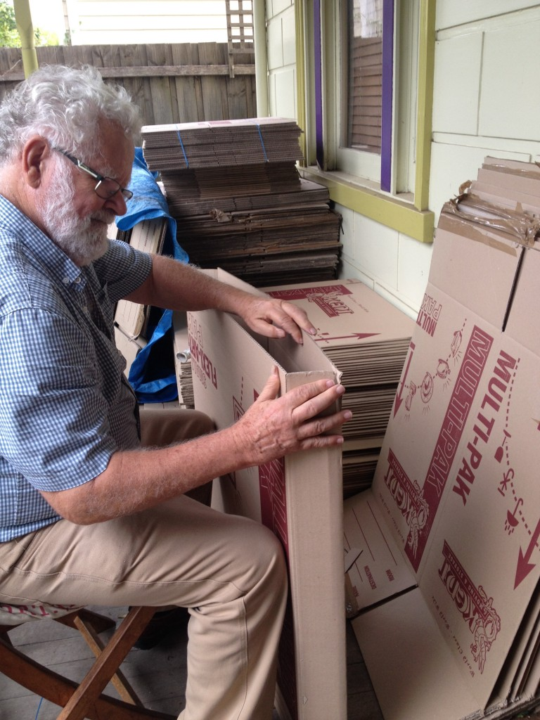 Dad... the box making and packing king.  Without him we would still be standing around with a vase in each hand.