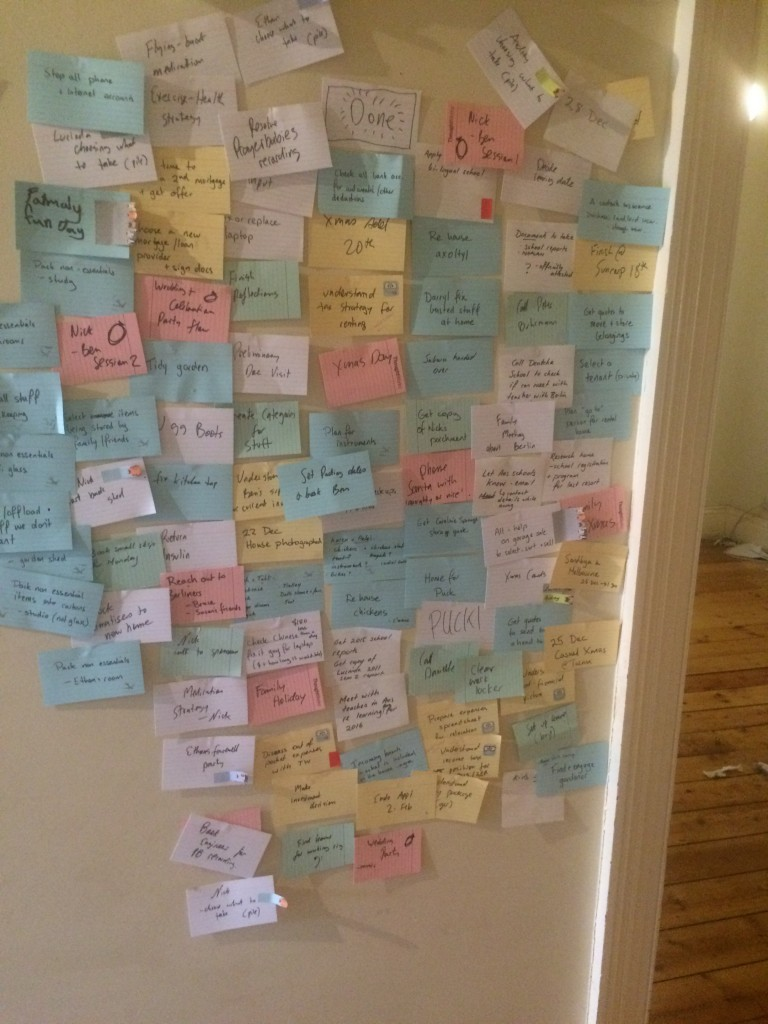 The agile 'board' stretched from the front door to the kitchen... this is the 'done' column.